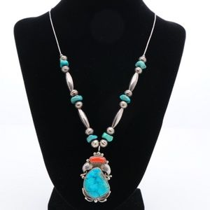 Jewelry - Turquoise and Coral Silver Necklace